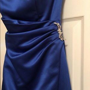 Royal blue David's Bridal bridesmaid gown